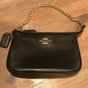 COACH Black Leather Wristlet with Gold Chain